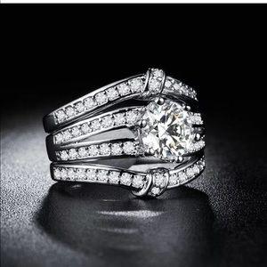 New sterling silver white diamonds female ring